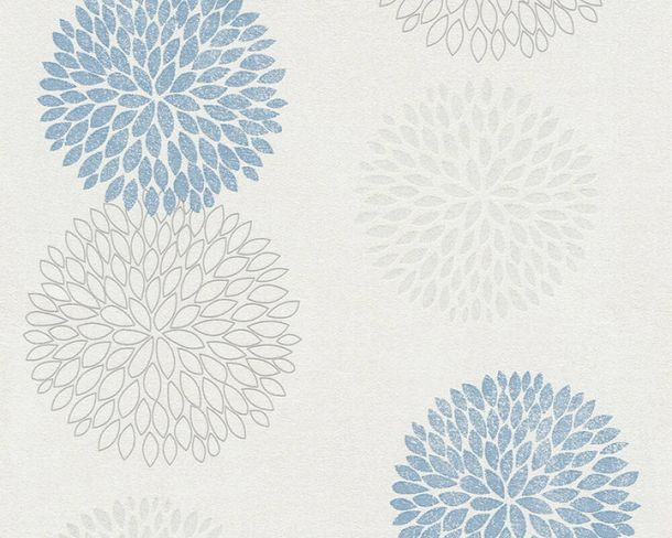 Vliestapete Kreise Floral weiß blau Glitzer 37264-2