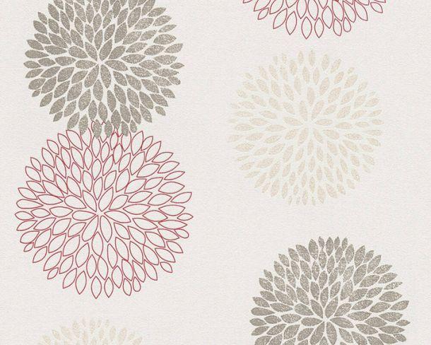 Vliestapete Kreise Floral cremeweiß rot Glitzer 37264-4