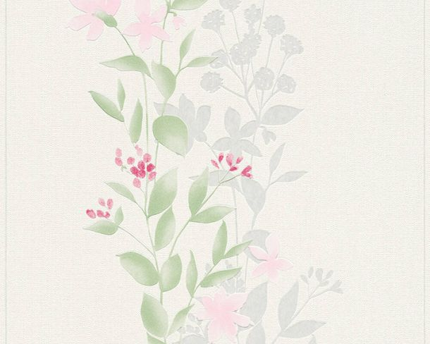 Non-Woven Wallpaper Floral Flowers white green 37266-1 online kaufen