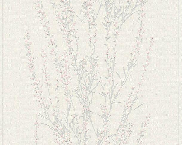 Vliestapete Floral Sträucher weiß grau Glanz 37267-1