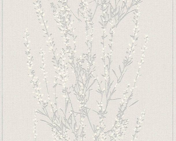 Non-Woven Wallpaper Bushes grey white Gloss 37267-3 online kaufen