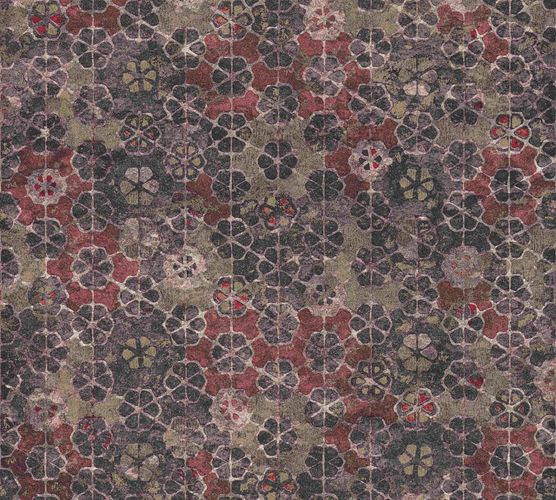 Non-woven wallpaper vintage tiles purple-grey red 37391-3