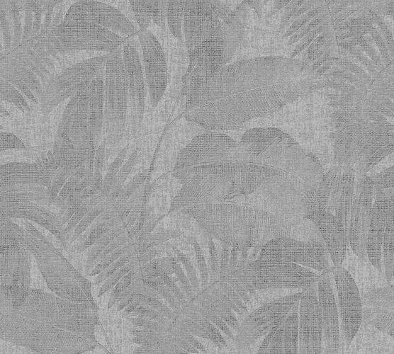 Non-woven wallpaper leaves grey black 37396-1