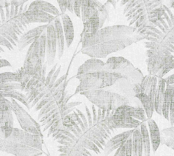 Non-woven wallpaper leaves cream green 37396-4