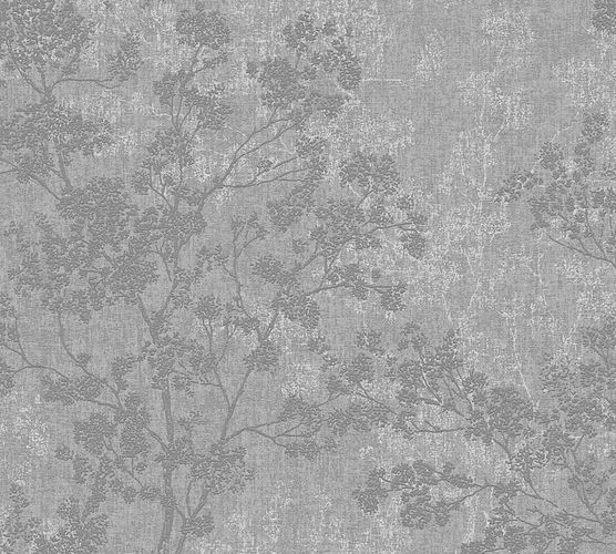 Non-woven wallpaper blossom twigs grey anthracite 37397-1