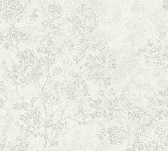Non-woven wallpaper blossom twigs cream grey 37397-2