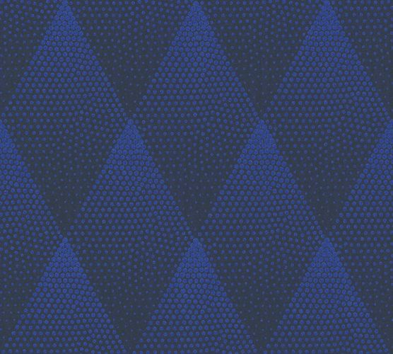 Non-woven wallpaper graphicale rhombuses blue 37419-1