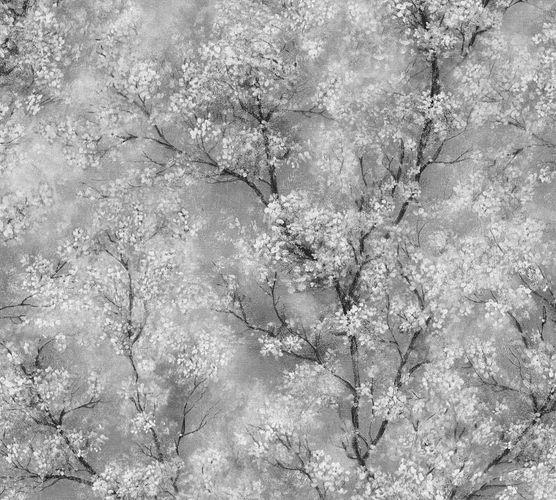 Vliestapete Blütenranken grau weiß schwarz 37420-1