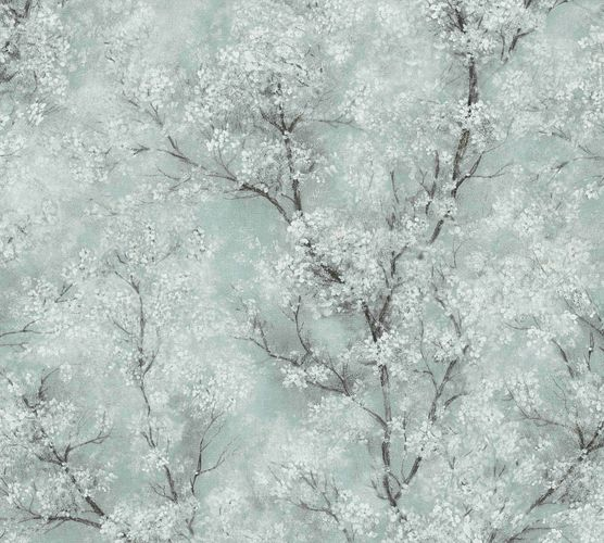 Non-woven wallpaper blossomtendrils pastelturquoise 37420-3