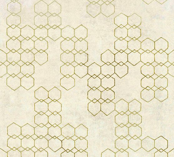 Non-woven wallpaper graphic creambeige grey gold 37424-2