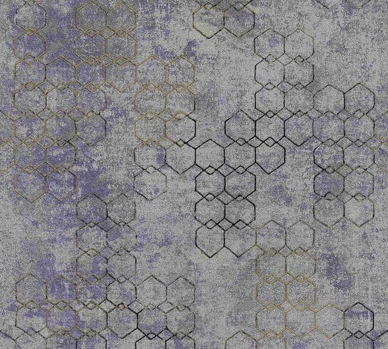Non-woven wallpaper graphic bluegrey gold glossy 37424-5 online kaufen