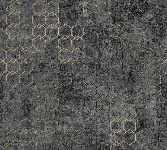 Non-woven wallpaper graphic anthracite black gold 37424-6
