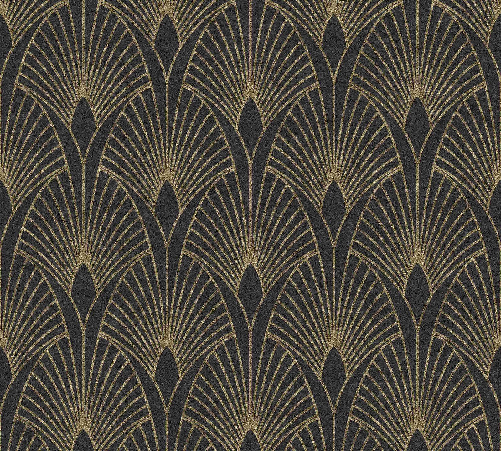 Esprit Art Deco Com non-woven wallpaper art deco black gold metallic 37427-3