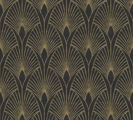 Non-woven wallpaper art deco black gold metallic 37427-3