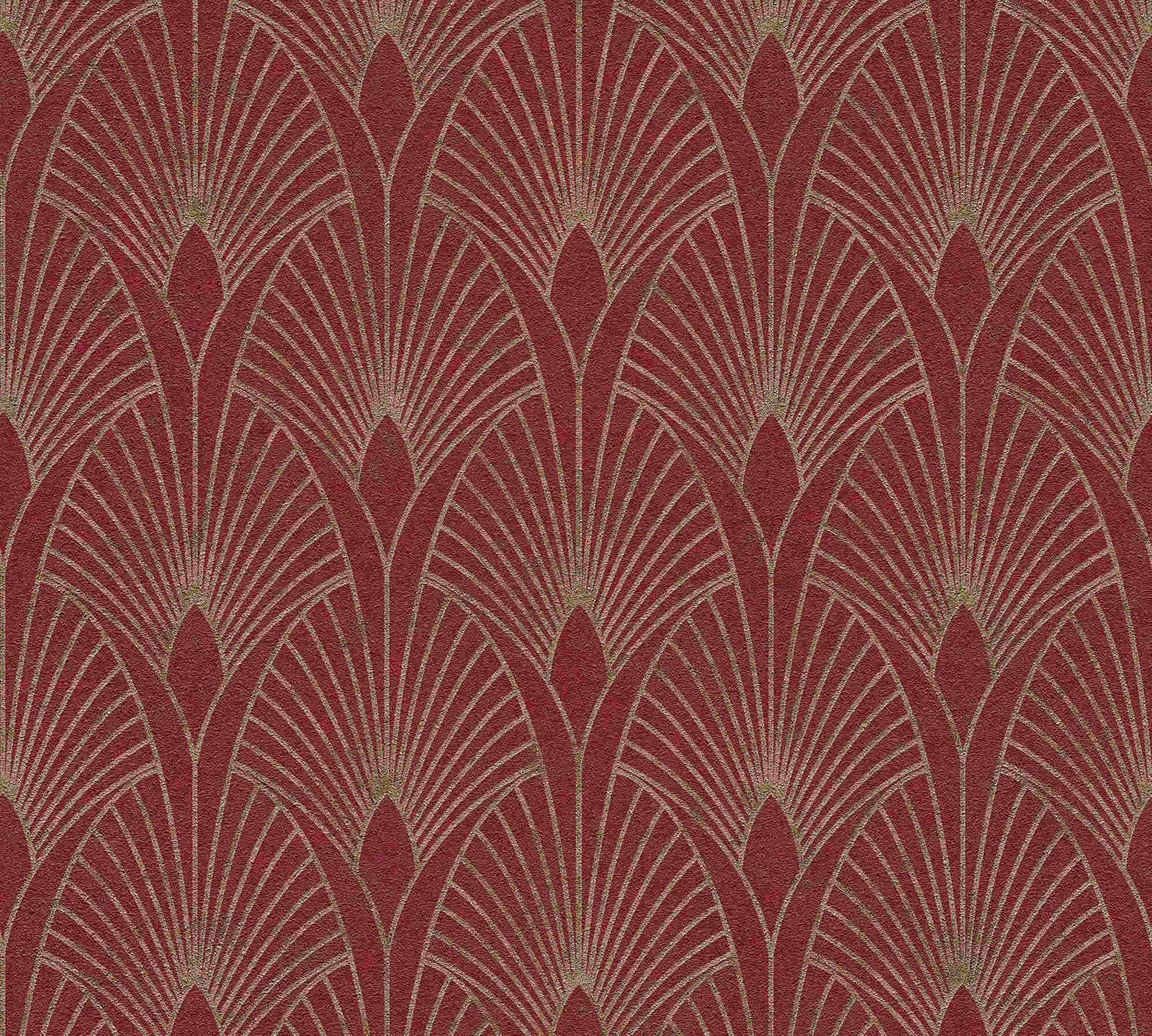 Vliestapete Art Deco rot gold Metallic 37427 4 202228 3