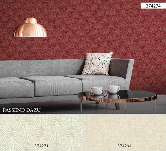 Vliestapete Art Deco rot gold Metallic 37427-4