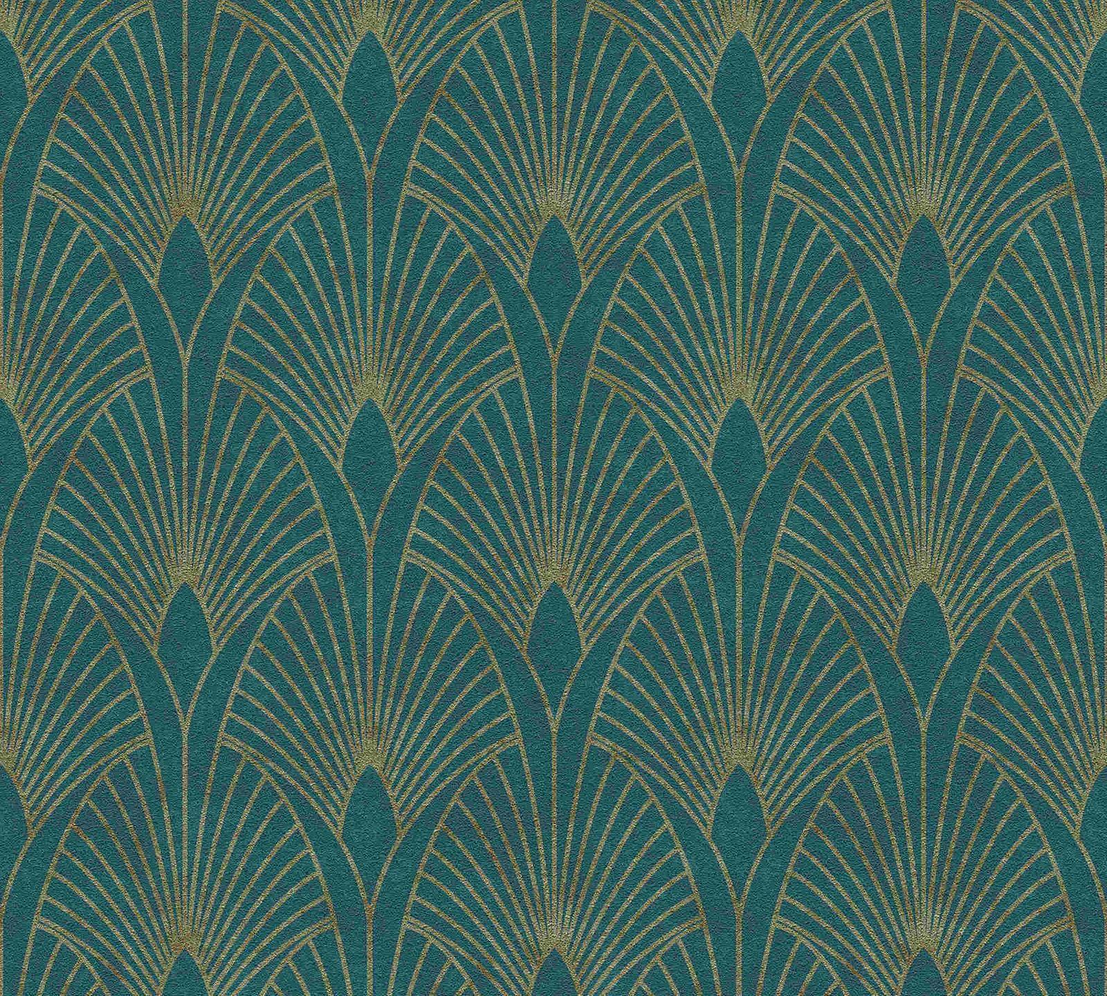 Esprit Art Deco Com non-woven wallpaper art deco turquoise gold 37427-5