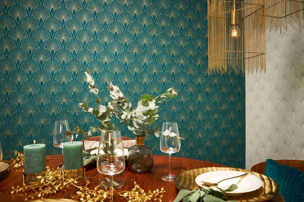 Vliestapete Art Deco türkis gold Metallic 37427-5