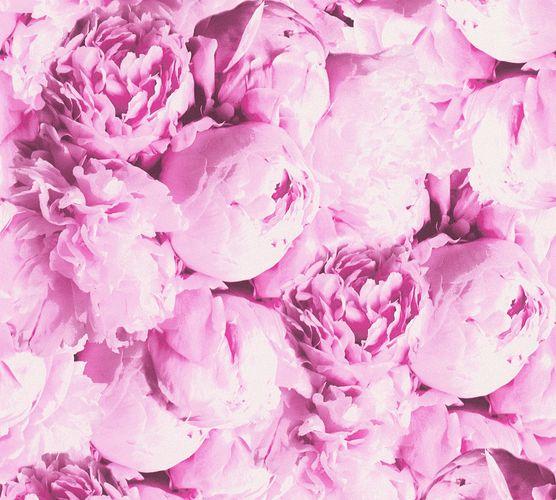 Non-woven wallpaper rose flower pink white 37398-1