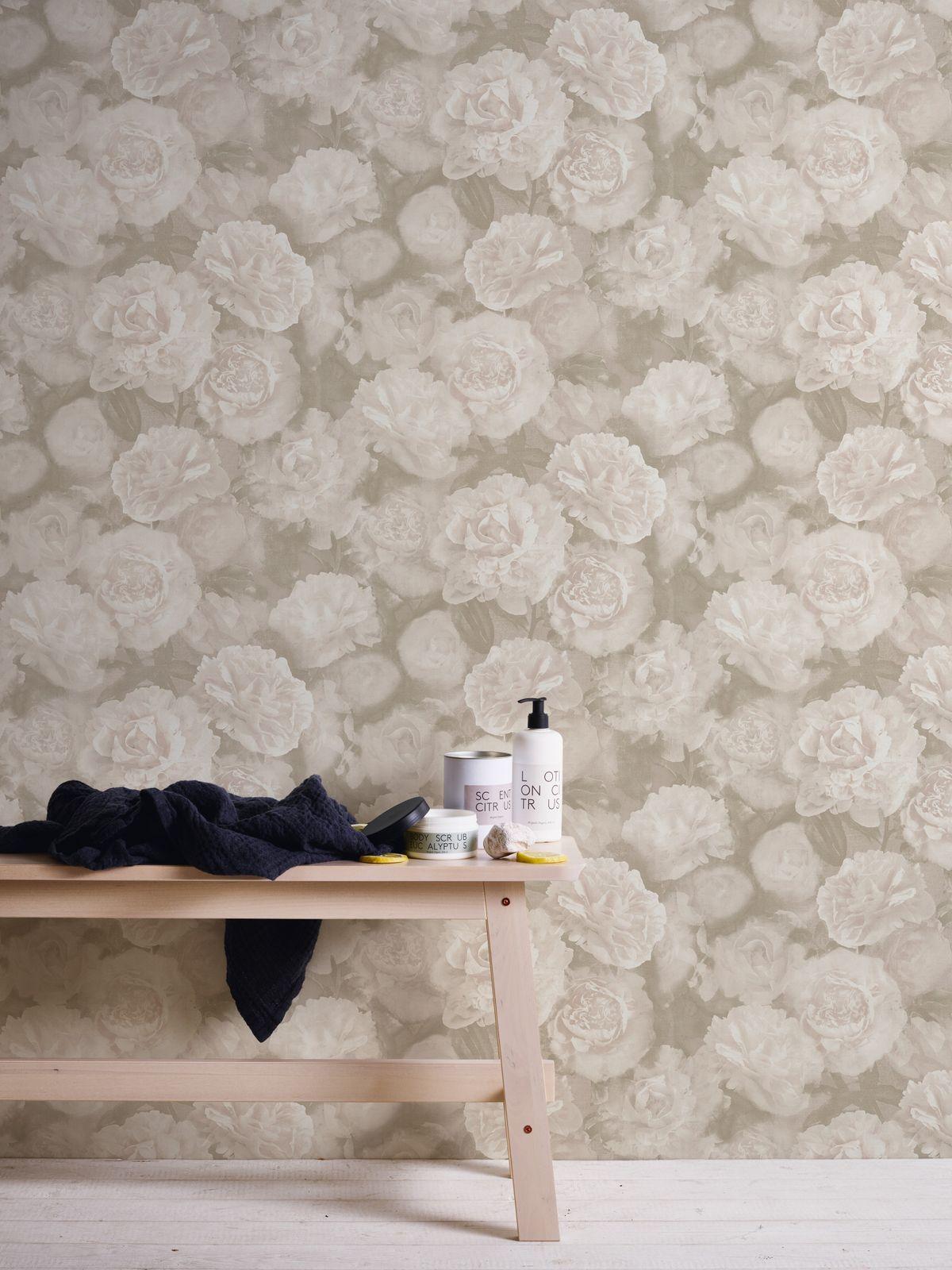 livingwalls Vliestapeten Neue Bude Blumen beige creme 37402-3 2,97€//1qm