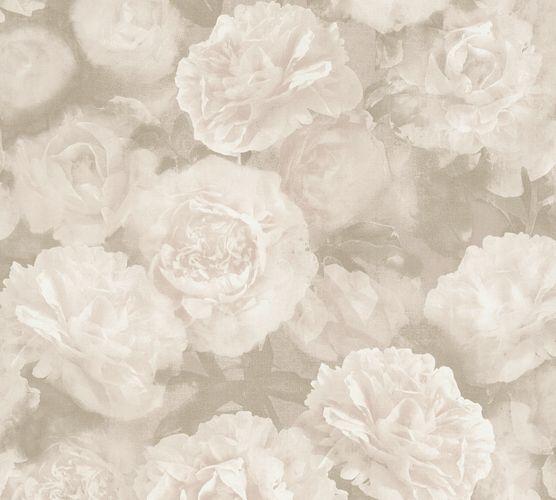 Non-woven wallpaper flowers beige cream 37402-3