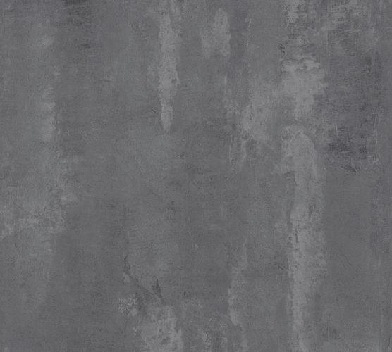 Non-woven wallpaper plain mottled dark grey 37412-3
