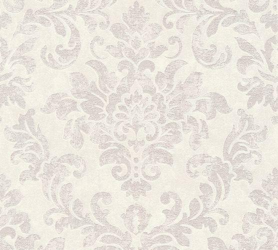 Non-woven wallpaper baroque white-grey rose 37413-3