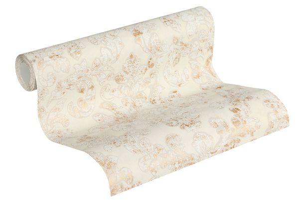 Non-woven wallpaper baroque cream-grey gold 37413-5 online kaufen