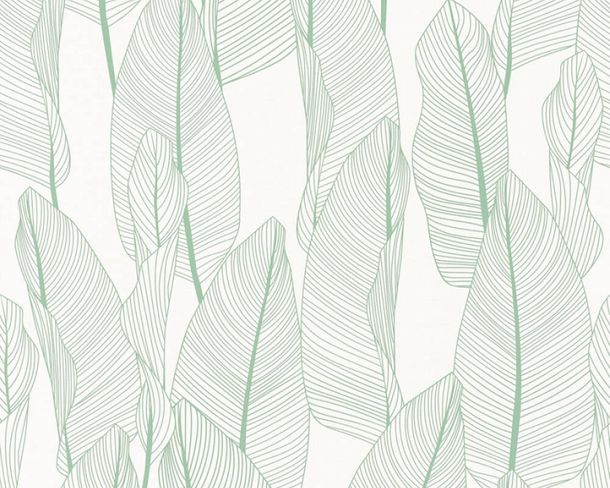 Non-woven wallpaper leaves floral white green 36497-1 online kaufen