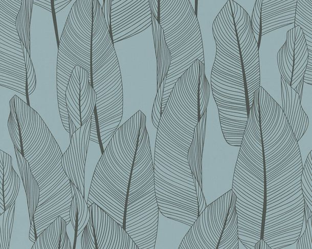 Non-woven wallpaper leaves floral blue brown 36497-2 online kaufen