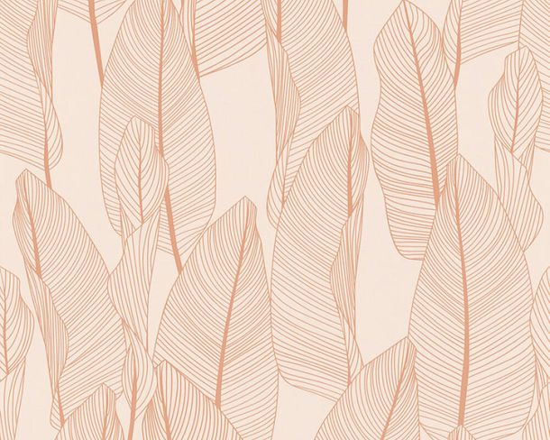 Non-woven wallpaper leaves floral beige apricot 36497-3 online kaufen