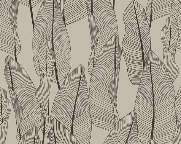 Non-woven wallpaper leaves floral brown black 36497-6 online kaufen
