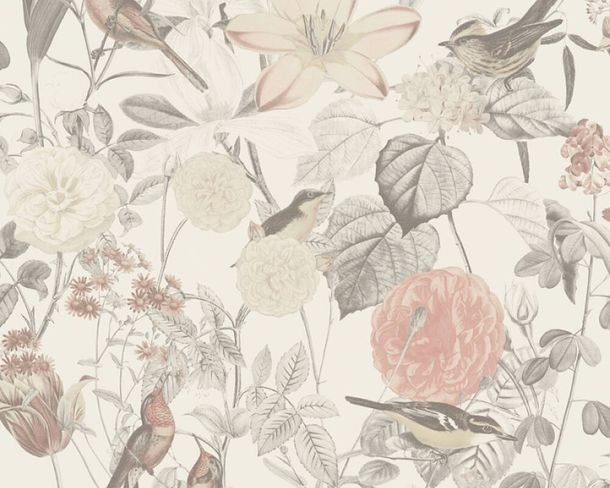 Non-woven wallpaper flowers birds white rose grey 37276-2