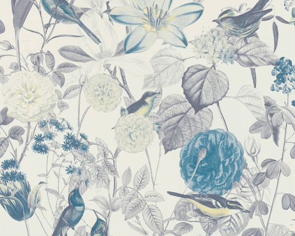 Non-woven wallpaper flowers birds white blue grey 37276-3