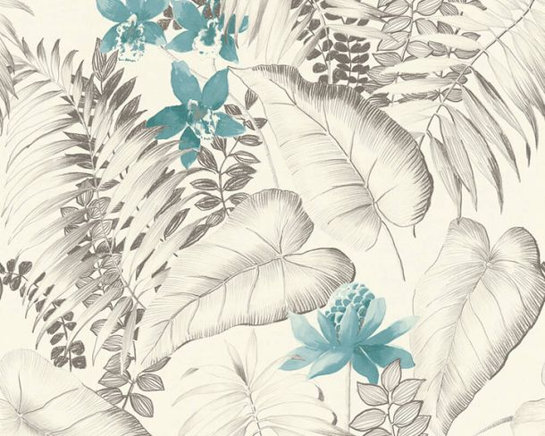 Non-woven wallpaper Exotic floral leaves brown 37279-2