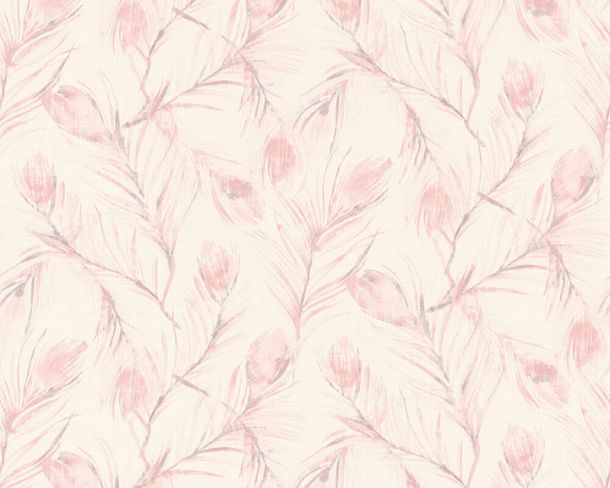 Non-woven wallpaper feather white rose glitter 37367-2 online kaufen