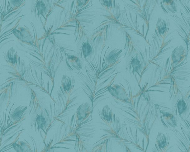 Non-woven wallpaper feather blue metallic glitter 37367-3