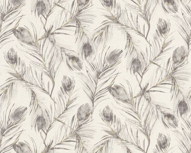 Non-woven wallpaper feather grey gold glitter 37367-4