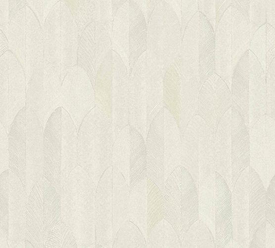 Non-woven wallpaper feather grey beige 37373-1