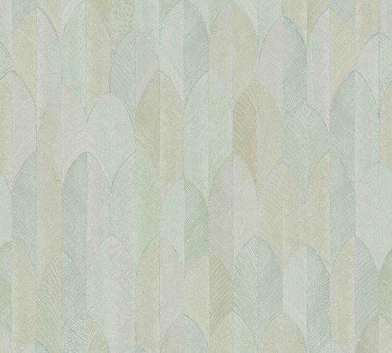 Non-woven wallpaper feather grey green brown 37373-4