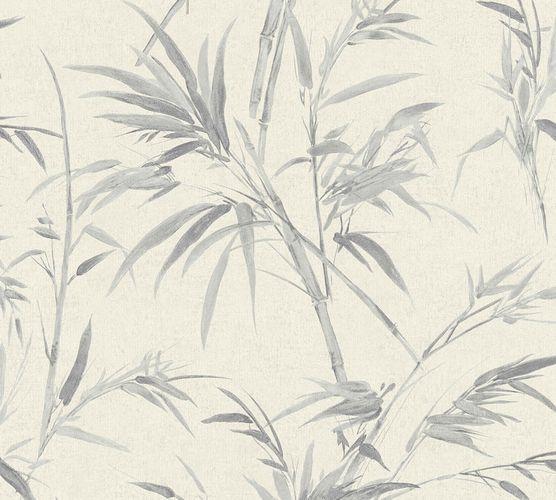 Non-woven wallpaper bamboo cream grey silver 37376-5