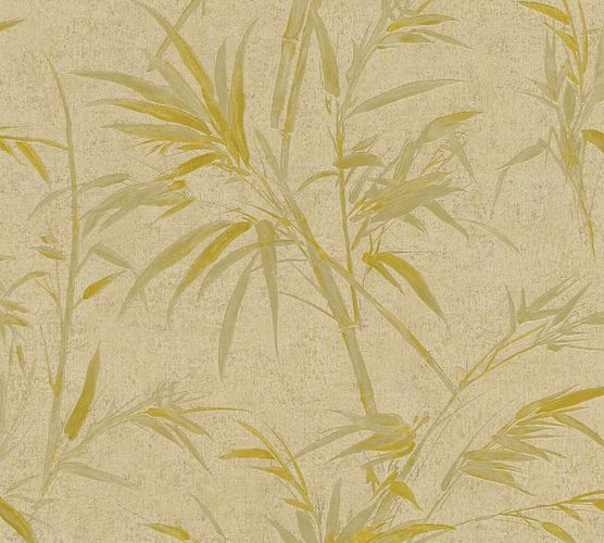 Non-woven wallpaper bamboo beige gold and glossy 37376-7