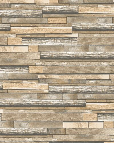 Non-woven Wallpaper Wood Design light brown beige 31731