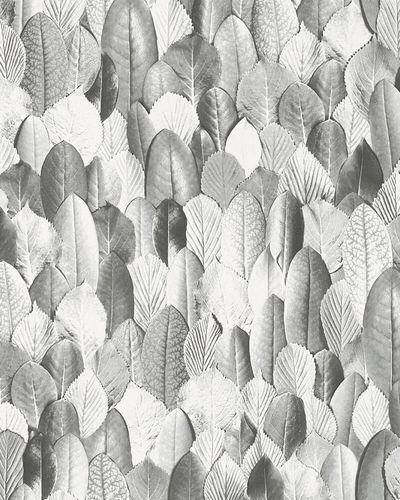 Non-woven Wallpaper Leaves Floral white grey 31736