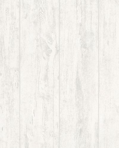Non-woven Wallpaper Wood Design white grey Metallic 31764