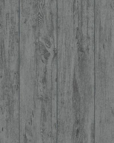 Non-woven Wallpaper Wood Design dark grey Glitter 31765