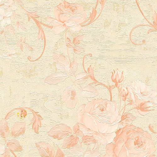 Non-woven wallpaper big flowers beige rose 37224-1 online kaufen