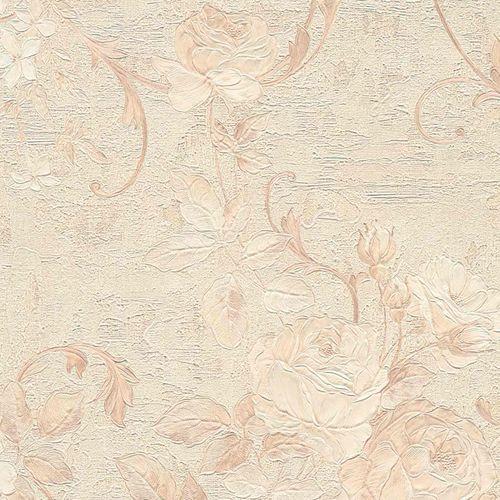 Non-woven wallpaper big flowers beige cream 37224-2