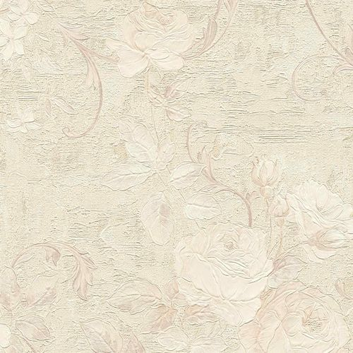 Non-woven wallpaper big flowers cream taupe 37224-4 online kaufen