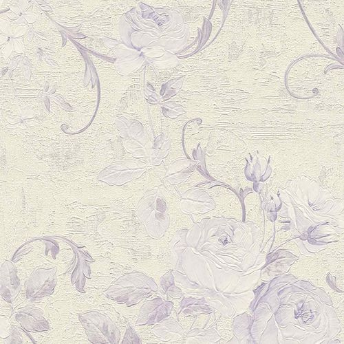 Non-woven wallpaper big flowers cream violet 37224-5 online kaufen